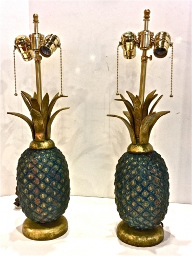 PAIR PEPE MENDOZA PINEAPPLE LAMPS c.1958