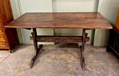 SWEDISH TRESTLE BASE FARM TABLE MID-19TH C.