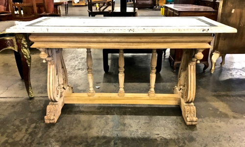 ITALIAN RENAISSANCE REVIVAL LIBRARY TABLE--STRIPPED