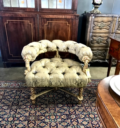 NAPOLEON III-STYLE GILT ROPE CARVED BARREL BACK CHAIR