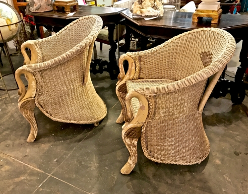 PAIR DECO SWAN FORM WICKER BARREL BACK CHAIRS