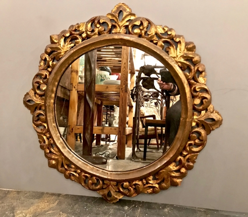 Baroque Style Carved Gilt Wood Mirror