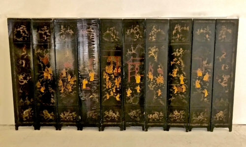 18TH C. CHINESE LACQUER TABLE SCREEN-10 PANEL