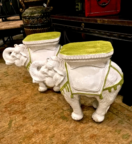 PAIR ITALIAN ELEPHANT STOOLS OR TABLES c.1960s