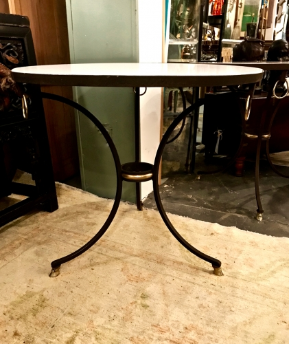 PAIR FORGED IRON & MARBLE GUERIDONS OR SIDE TABLES c.1970