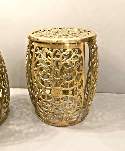 PAIR CAST BRASS GARDEN STOOLS c.1960s