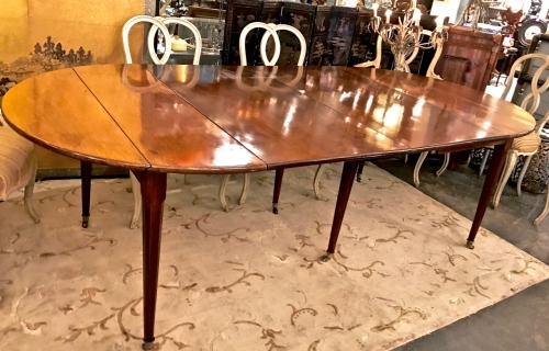 FRENCH LOUIS XVI STYLE MAHOGANY DINING TABLE c. 1840-1860