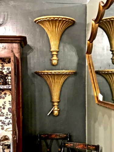 PAIR NEOCLASSICAL CARVED GILT WOOD BRACKETS/SCONCES c.1780-1820