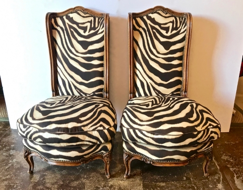 PAIR LOUIS XV-STYLE CHAUFFEUSE or SLIPPER CHAIRS