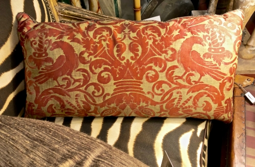 PAIR ANTIQUE FORTUNY PILLOWS IN