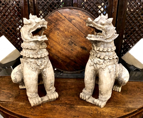 PAIR LARGE CHINESE TERRA COTTA LIONS/FOO DOGS, EARLY 19TH C.