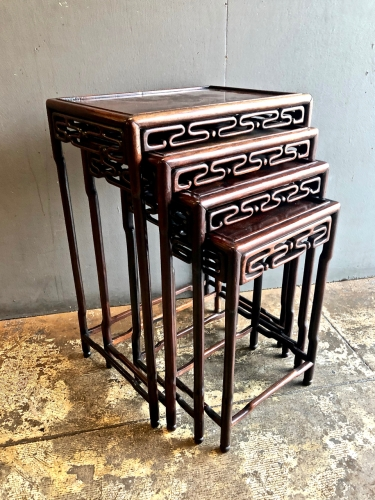 ANTIQUE CHINESE ROSEWOOD NESTING/QUARTETTO TABLES