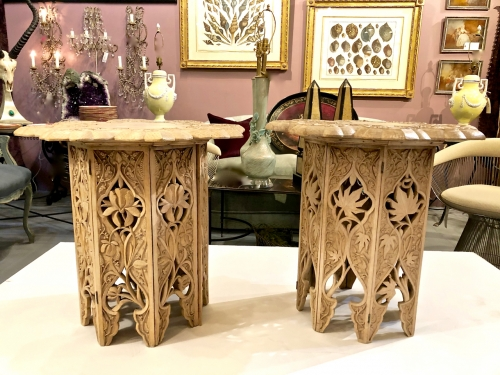 PAIR LATE ANGLO-RAJ CARVED SIDE/DRINKS TABLES