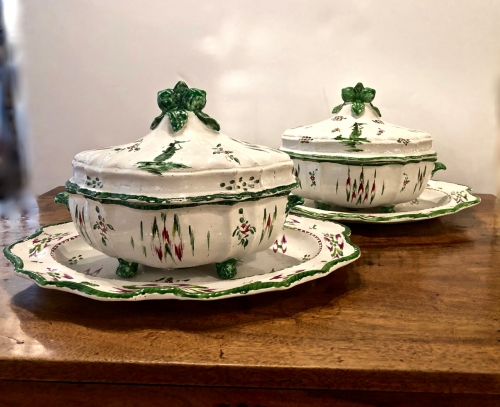 PAIR EARLY 19TH C. FRENCH FAIENCE TUREENS AND UNDERPLATES