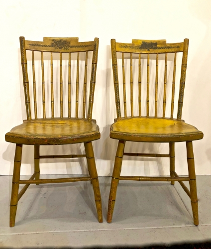 Pair Mustard Yellow Windsor Side Chairs