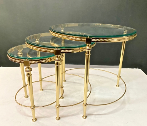 MAISON BAGUES BRASS NESTING TABLES, c.1960s
