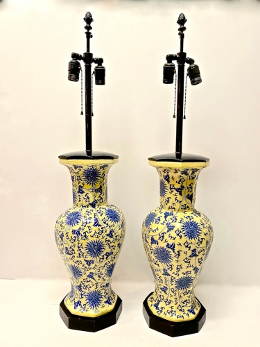 PAIR YELLOW AND BLUE CHINOISERIE TABLE LAMPS