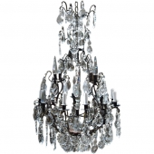 French Louis XV Bronze and Crystal Chandelier