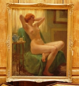 Early 20th c.  Large Signed Painting of Nude