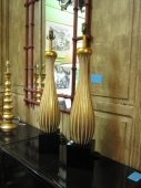 Pr. Mid-20th c. Gold Leafed Ceramic Lamps