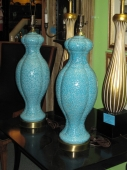Art Pottery Lamps in Deep Aqua/Turquoise