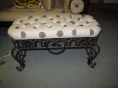 Wrought Iron Bench in Tufted Linen