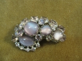Lavender and Rhinestone Brooch c. 1955