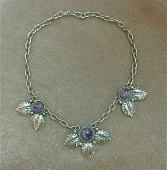 Mexican Sterling Silver and Amethyst Necklace c. 1940