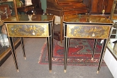 Eglomise Chinoiserie Side Tables, Mirrored c. 1930-40
