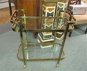 Brass and Glass Bar/Drinks Cart c. 1980