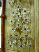 Mid -20th c. Gilt Tole and Crystal flower Sconces