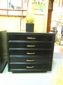 Pair Black Lacquered Chests, Mid-Century