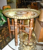 Moroccan Inlaid Wood and Brass Tray Table