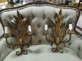 Italian Gilt Wheat Sconces
