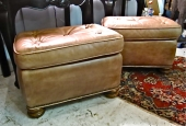 Pair Vintage Leather Ottomans