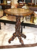 Chinese 19th c. Root work and Marble Table