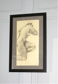 Mid-Century French Academic Charcoal Drawing