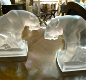 Pair French Deco Art Glass Panther Bookends