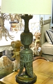 Pair Large Marbro Egyptian Brass Lamps