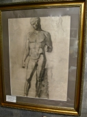 Pair Mid-20th c. Roman Statuary Academic Drawings
