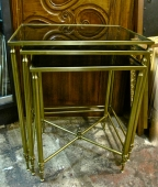 Brass and Glass Nesting Tables c. 1970's