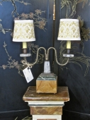 Pair Rock Crystal Boudoir Lamps