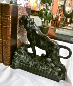 PAIR ART DECO BRONZE LION BOOKENDS