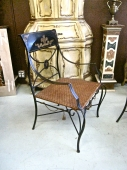 PR. PAINTED IRON AND TOLE ARM CHAIRS