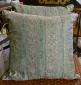 PAIR VINTAGE FORTUNY GOLD & GREEN PILLOWS
