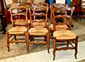SET OF 12 FRENCH PROVINCIAL RUSH SEAT CHAIRS