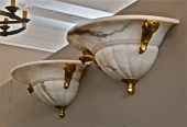 PAIR LARGE ALABASTER SCONCES