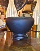ART DECO BLACK OPALINE GLASS VESSEL