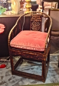 PAIR 19TH C. CHINESE HORSESHOE ELM AND BAMBOO CHAIRS