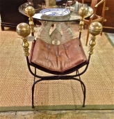IRON AND BRASS SAVONAROLA CURULE CHAIR